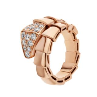 Bvlgari Serpenti Viper one-coil ring in rose gold, with pav� diamonds