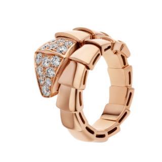 Bvlgari Serpenti Viper one-coil ring in rose gold, with pav� diamonds