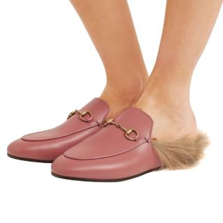 Gucci Dusty Pink Fur Lined Princetown Slippers