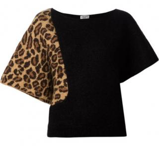 Saint Laurent Black/Leopard Mohair Knit Jumper