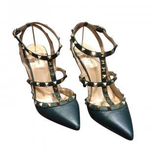 Valentino Garavani Bottle Green Leather Rockstud Sandals