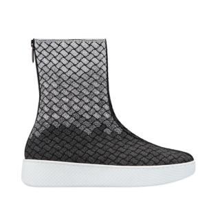 Bottega Veneta Knit Intrecciato Helium High Top Sneakers