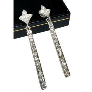 Bespoke Victorian White Gold Diamond Bar Earrings
