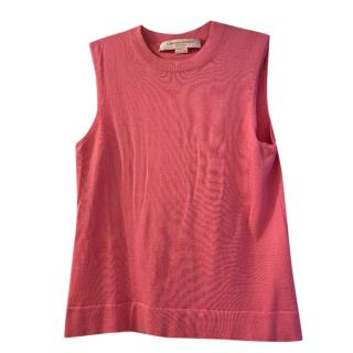 Carolina Herrera Pink Knit Cashmere & Silk Sleeveless Top