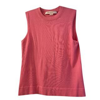 Carolina Herrera Pink Knit Cashmere & Silk Sleeveless Top