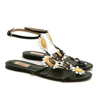 Valentino Green Leather Daisy Applique Sandals