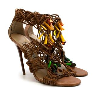 Jimmy Choo Leather Tan Woven Beaded Heeled Sandals