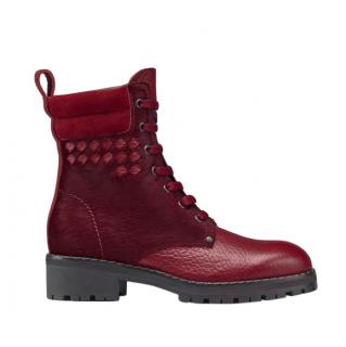 Bottega Veneta Red Eldfell Calf Hair Intrecciato Ankle Boots