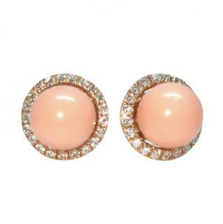William & Son Vintage Coral & Diamond Interchangeable Earrings