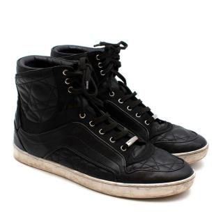 Dior Homme Black Leather and Suede High-Top Sneakers