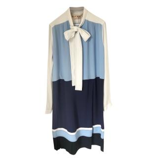 Marni Blue & White Colourblock Pussybow Dress