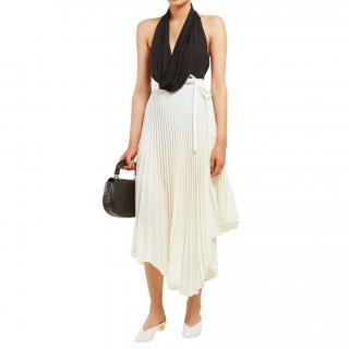 A.W.A.K.E MODE Ivory Pleated Midi Length Wrap Skirt
