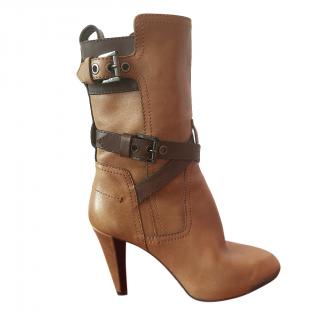 Tod's Brown Leather Buckle Detail Ankle Boots