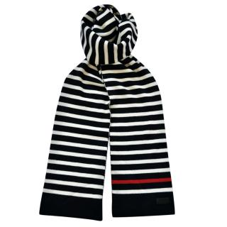 Saint Laurent Striped Knit Wool Scarf