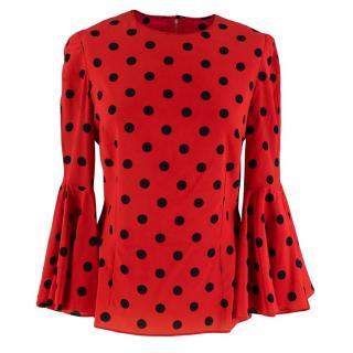 Dolce & Gabbana Red Polka Dot Bell Sleeve Silk Blouse