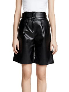 Self Portrait Black Faux Leather Bermuda Shorts