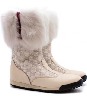 Gucci Fur-trimmed Monogram Boots