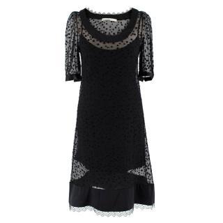 Peter Som Black Silk Polka Dot Mini Shift Dress