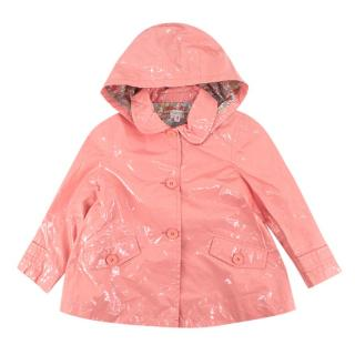 Bonpoint Pink Coated Hooded Raincoat