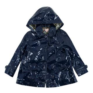 Bonpoint Navy Coated Hooded Raincoat
