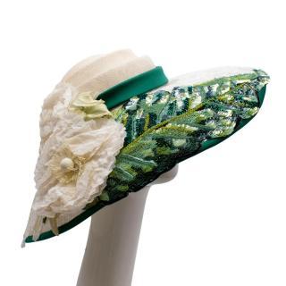Dolce & Gabbana Sequin & Lace Detailed Floral Embellished Raffia Hat