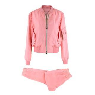 Alexander McQueen Pink Satin Double Zip Tracksuit
