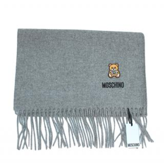 Moschino Grey Merino Wool Teddy Shawl