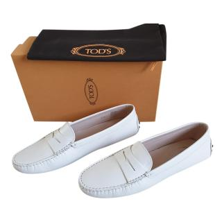 Tod's White Gommino driving shoes