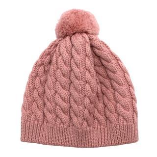 Normandie Pink Merino Wool Knitted Pom Pom Hat