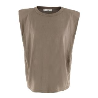 Frankie Shop Grey Cotton Sleeveless Tank Top