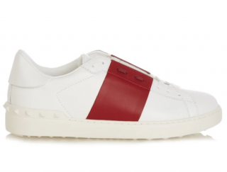 Valentino Red & White Open Rockstud Sneakers