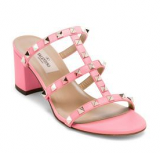 Valentino Pink Rockstud Leather Mules