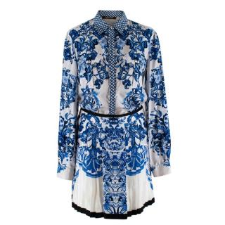 Roberto Cavalli Blue & White Floral Silk Shirt & Skirt