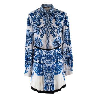 Roberto Cavalli Blue & White Floral Silk Shirt & Skirt