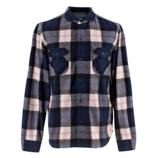 Junya Watanbe Flannel Check Shirt in Blue and White