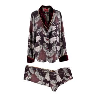 For Restless Sleepers Burgundy Insect Print Silk Suit