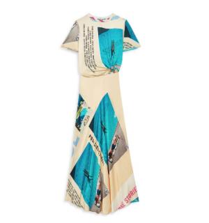 Maje Photographic Print Satin A-Line Maxi Dress
