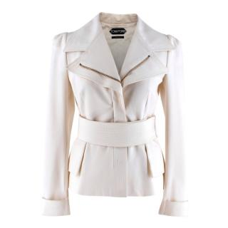 Tom Ford Cream Tailored Belted Jacket
