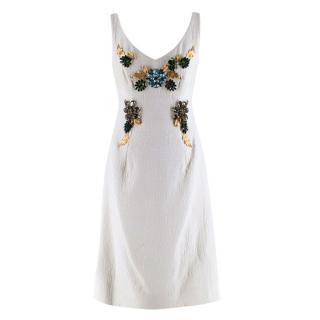Dolce & Gabbana White Brocade Floral Crystal Embellished Dress