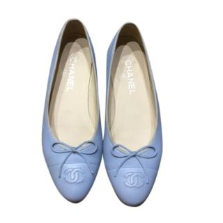 Chanel Blue Leather CC Ballerinas