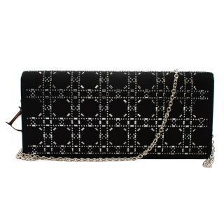 Dior Black Crystal Cannage Embellished Satin Shoulder Bag