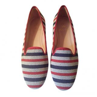 Pretty Ballerinas Striped Beaded Loafers