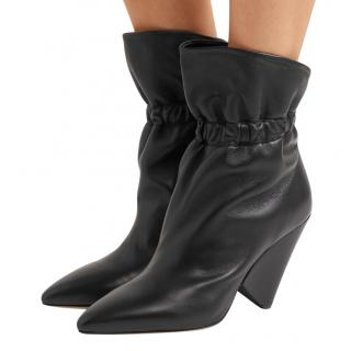 Isabel Marant Black Leather Ruched Cone Heel Ankle Boots