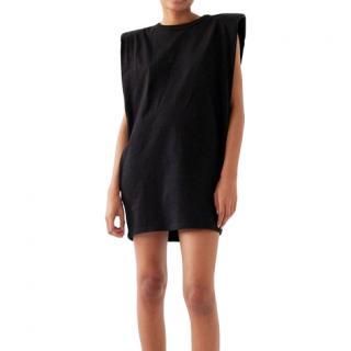 The Frankie Shop Tina Padded Shoulder Muscle Dress Black