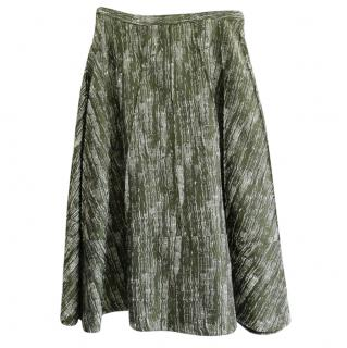 Betty Jackson Green Woven Midi Skirt
