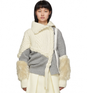 Sacai Braided Cable Knit Faux-fur-cuff Jacket In 159 Owh Gre