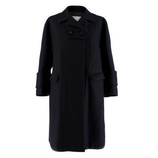 Sacai Navy Wool Double Vented Longline Coat