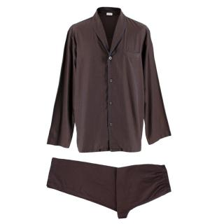 Zimmerli Dark Red Cotton Logo Check Pyjama Set