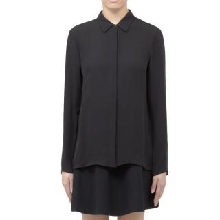 Theory Black Simra Silk Pleated Shirt