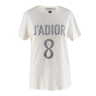 Dior Ivory Cotton J'adior 8 T-Shirt